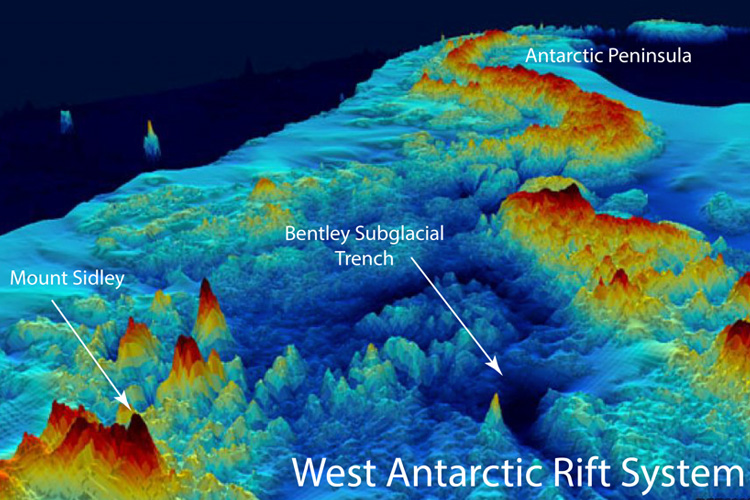 The topography of West Antarctica below the ice sheet as viewed from above, looking toward the Antarctic Peninsula. (image: Bedrock Consortium)