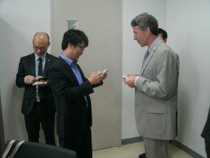 Exchanging business cards. Fulbright International Educators in Korea (June 2013)