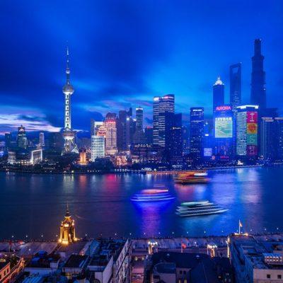 Night view of Waldorf Astoria Hotel on the Bund, Shanghai, China
