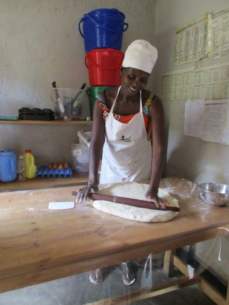 Woman Baking in Rwanda bakery