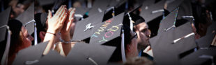 Crowd of graduation caps