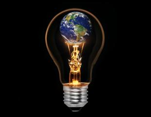 Globe inside lightbulb